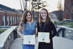 Cheryl Nickel and Jessica Swets receive awards for student teaching & student service