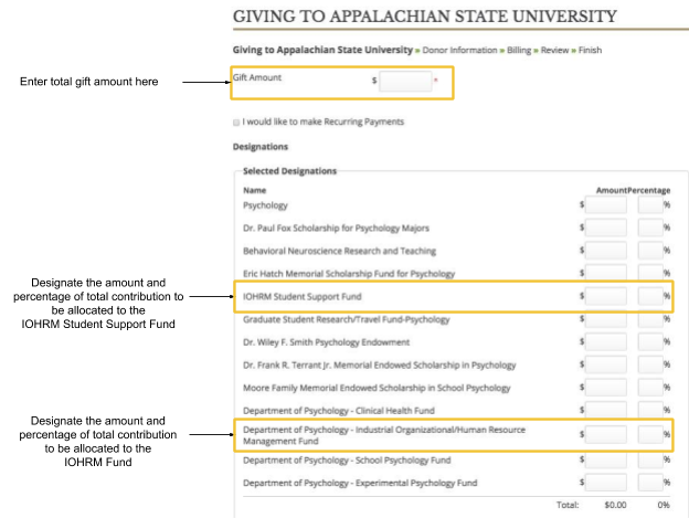 screenshot of App State giving website